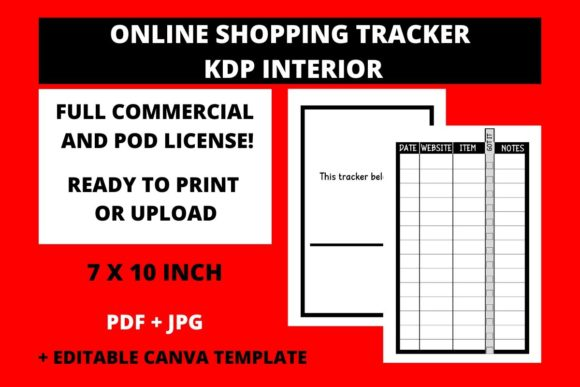 Download Free Online Shopping Tracker Kdp Interior Graphic By Fleur De Tango for Cricut Explore, Silhouette and other cutting machines.
