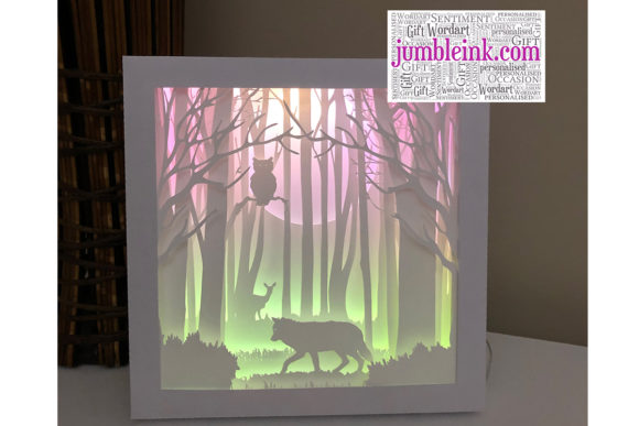 Owl & Wolf 3D Paper Cut Light Box Graphic 3D Shadow Box By Jumbleink Digital Downloads