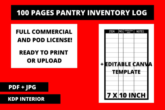 Print on Demand: Pantry Inventory Log with Canva Template Graphic KDP Interiors By Fleur de Tango