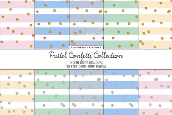 Pastel Confetti Sparkle Digital Papers Graphic Backgrounds By clipheartcreations