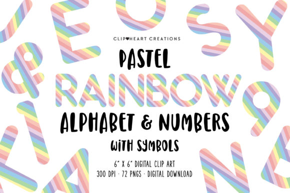 Pastel Rainbow Alphabet Clipart Graphic Illustrations By clipheartcreations
