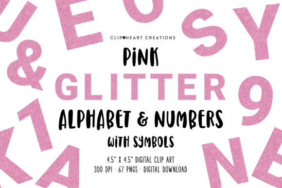 Pink Glitter Alphabet Clipart Graphic Illustrations By clipheartcreations