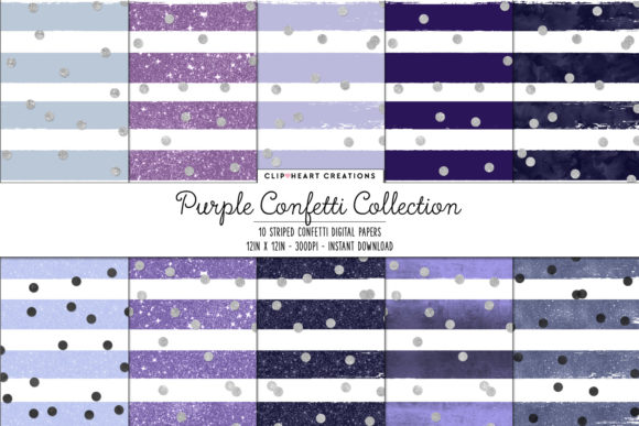 Download Free Purple Confetti Sparkle Digital Papers Graphic By for Cricut Explore, Silhouette and other cutting machines.