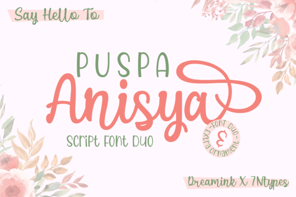 Print on Demand: Puspa Anisya Script & Handwritten Font By Dreamink (7ntypes)