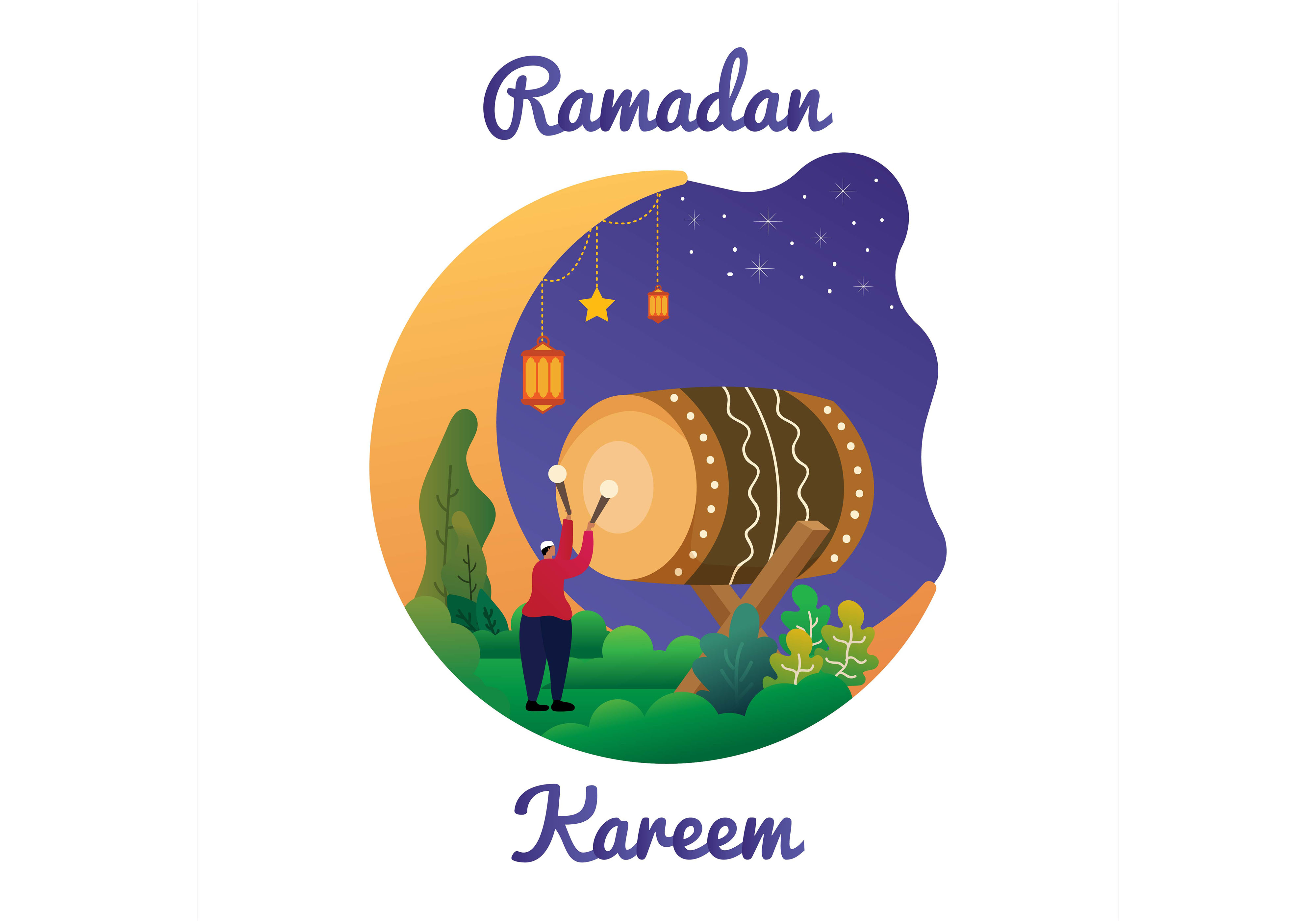 Download Free Ramadan Yaa Ramadan Design Graphic By Purplebubble Creative for Cricut Explore, Silhouette and other cutting machines.