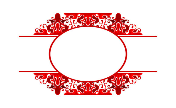 Download Free Red Ornament Border Frame Design Graphic By Arief Sapta Adjie for Cricut Explore, Silhouette and other cutting machines.