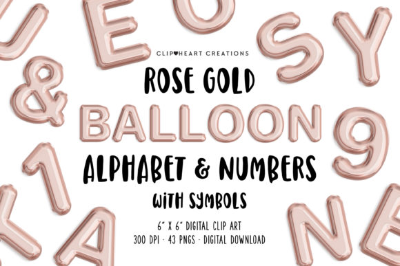 Rose Gold Foil Balloon Clipart Graphic Illustrations By clipheartcreations