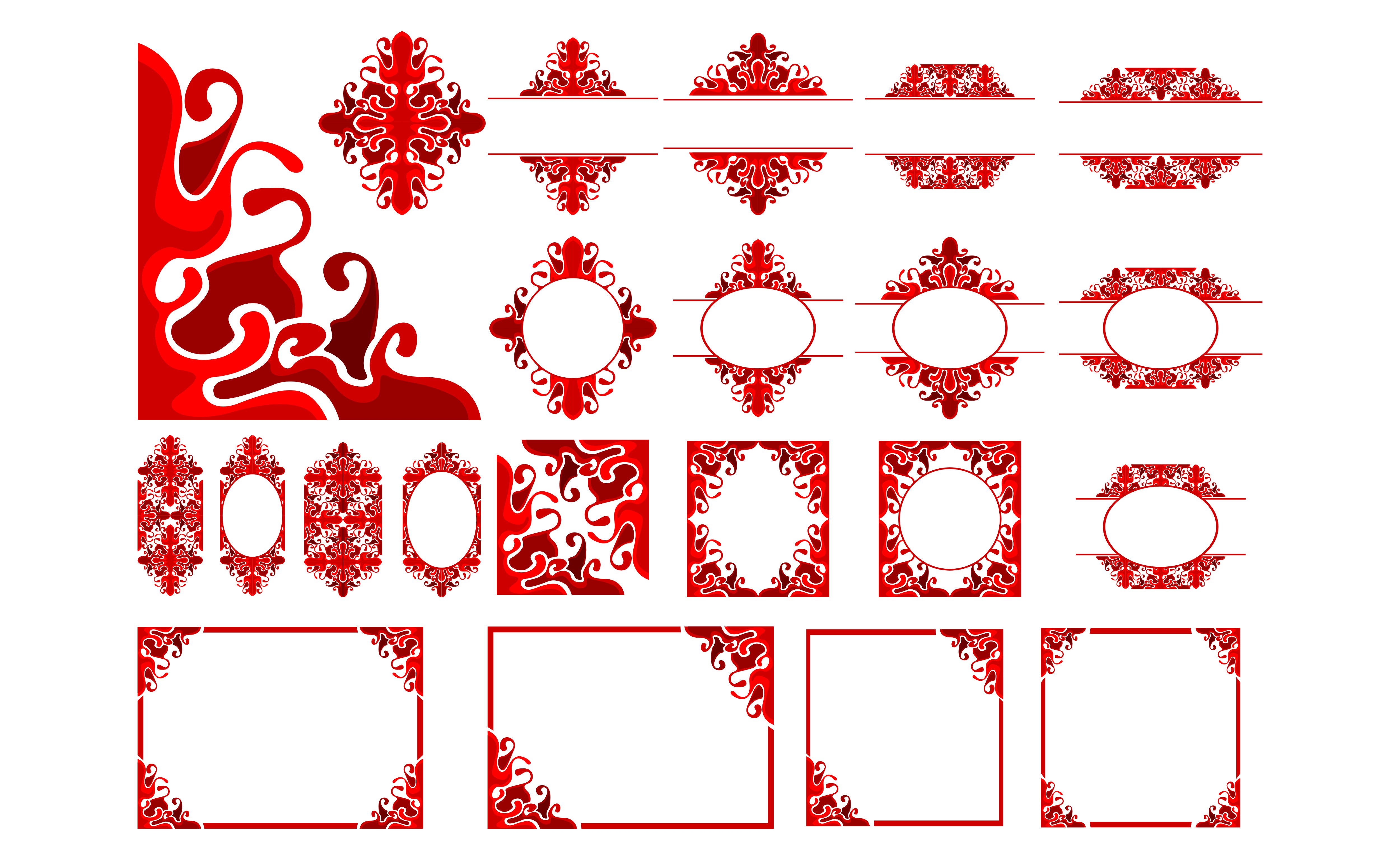 Download Free Set Of Red Ornament Border Frame Design Graphic By Arief Sapta for Cricut Explore, Silhouette and other cutting machines.