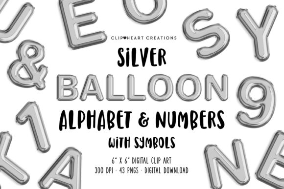 Silver Foil Balloon Alphabet Clipart Graphic Illustrations By clipheartcreations