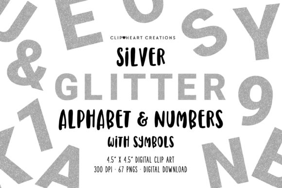 Silver Glitter Alphabet Clipart Graphic Illustrations By clipheartcreations