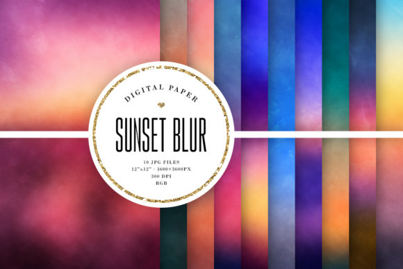 Print on Demand: Sunset Blur Backgrounds, Grungy Textures Graphic Backgrounds By Sabina Leja