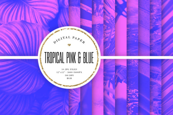 Print on Demand: Tropical Backgrounds, Pink & Blue Colors Graphic Backgrounds By Sabina Leja