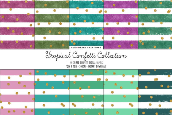Tropical Confetti Sparkle Digital Papers Graphic Backgrounds By clipheartcreations