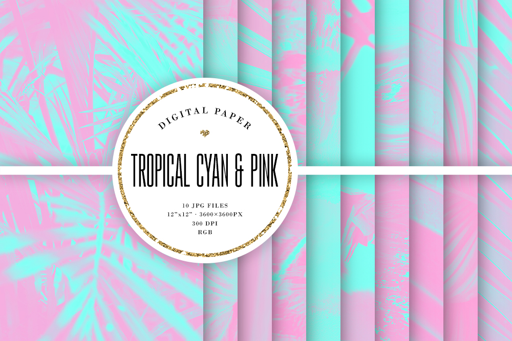 Download Free Tropical Photo Backgrounds Cyan Pink Graphic By Sabina Leja for Cricut Explore, Silhouette and other cutting machines.