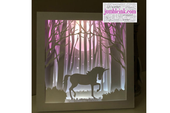 Unicorn 3D Paper Cut Light Box Grafik 3D Schattenbox von Jumbleink Digital Downloads