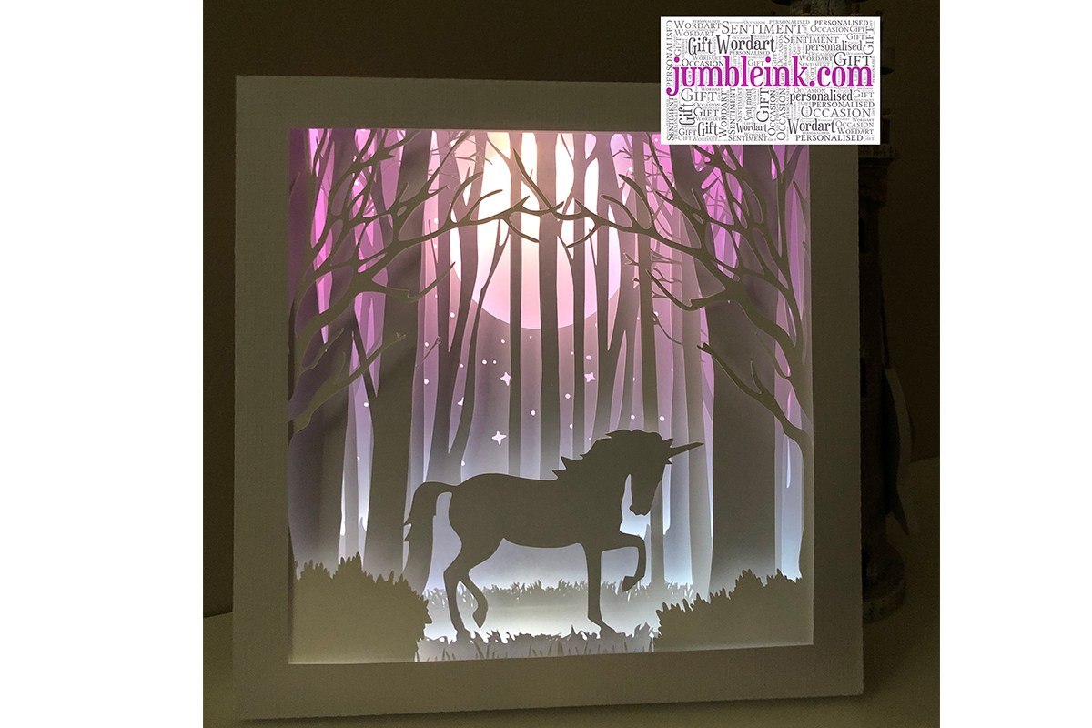 Unicorn 3d Paper Cut Light Box Graphic By Jumbleink Digital