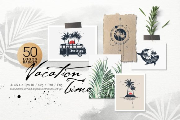 Download Free Vacation Time 50 Logos Badges Graphic By Cosmic Store for Cricut Explore, Silhouette and other cutting machines.