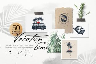 Print on Demand: Vacation Time. 50 Logos & Badges Graphic Logos By Cosmic Store
