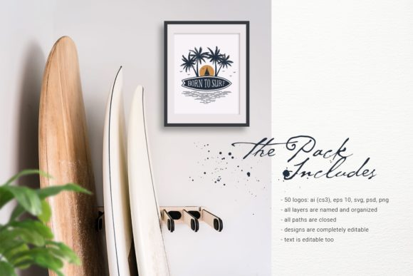 Print on Demand: Vacation Time. 50 Logos & Badges Graphic Logos By Cosmic Store - Image 2