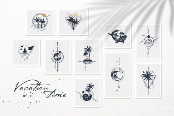 Print on Demand: Vacation Time. 50 Logos & Badges Graphic Logos By Cosmic Store - Image 3