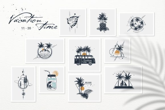 Print on Demand: Vacation Time. 50 Logos & Badges Graphic Logos By Cosmic Store - Image 4