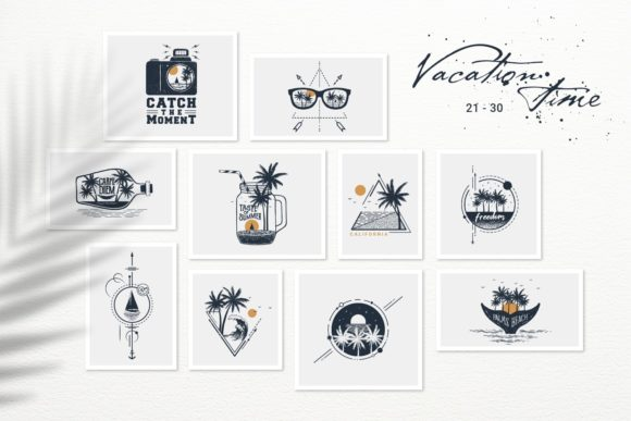 Print on Demand: Vacation Time. 50 Logos & Badges Graphic Logos By Cosmic Store - Image 5