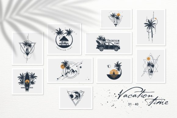 Print on Demand: Vacation Time. 50 Logos & Badges Graphic Logos By Cosmic Store - Image 6