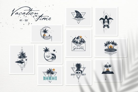 Print on Demand: Vacation Time. 50 Logos & Badges Graphic Logos By Cosmic Store - Image 7