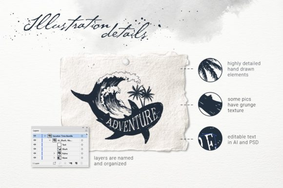 Print on Demand: Vacation Time. 50 Logos & Badges Graphic Logos By Cosmic Store - Image 8