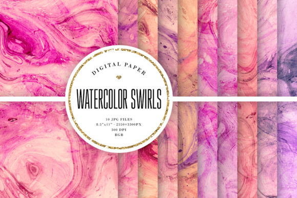 Print on Demand: Watercolor Swirls Background Textures Graphic Backgrounds By Sabina Leja