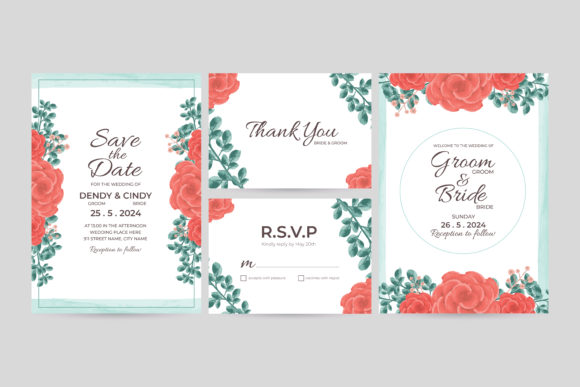Print on Demand: Watercolor Wedding Invitation Template Graphic Graphic Templates By dendysign
