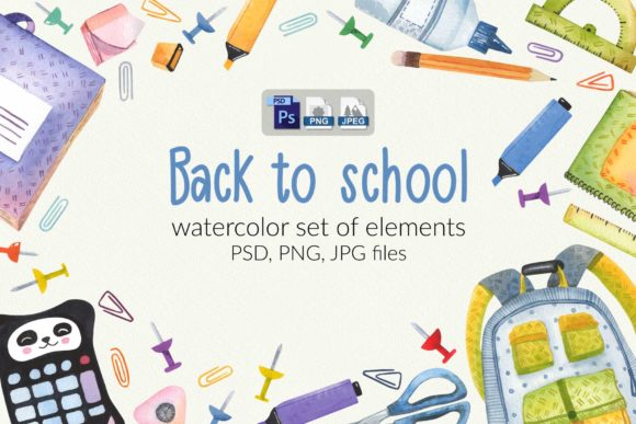 Print on Demand: Watercolor School Set Graphic Illustrations By zmievska_ksenia