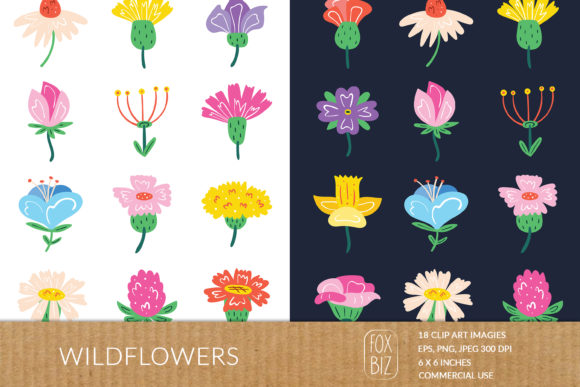 Print on Demand: Wildflowers Clipart. Floral Prints. Graphic Illustrations By FoxBiz