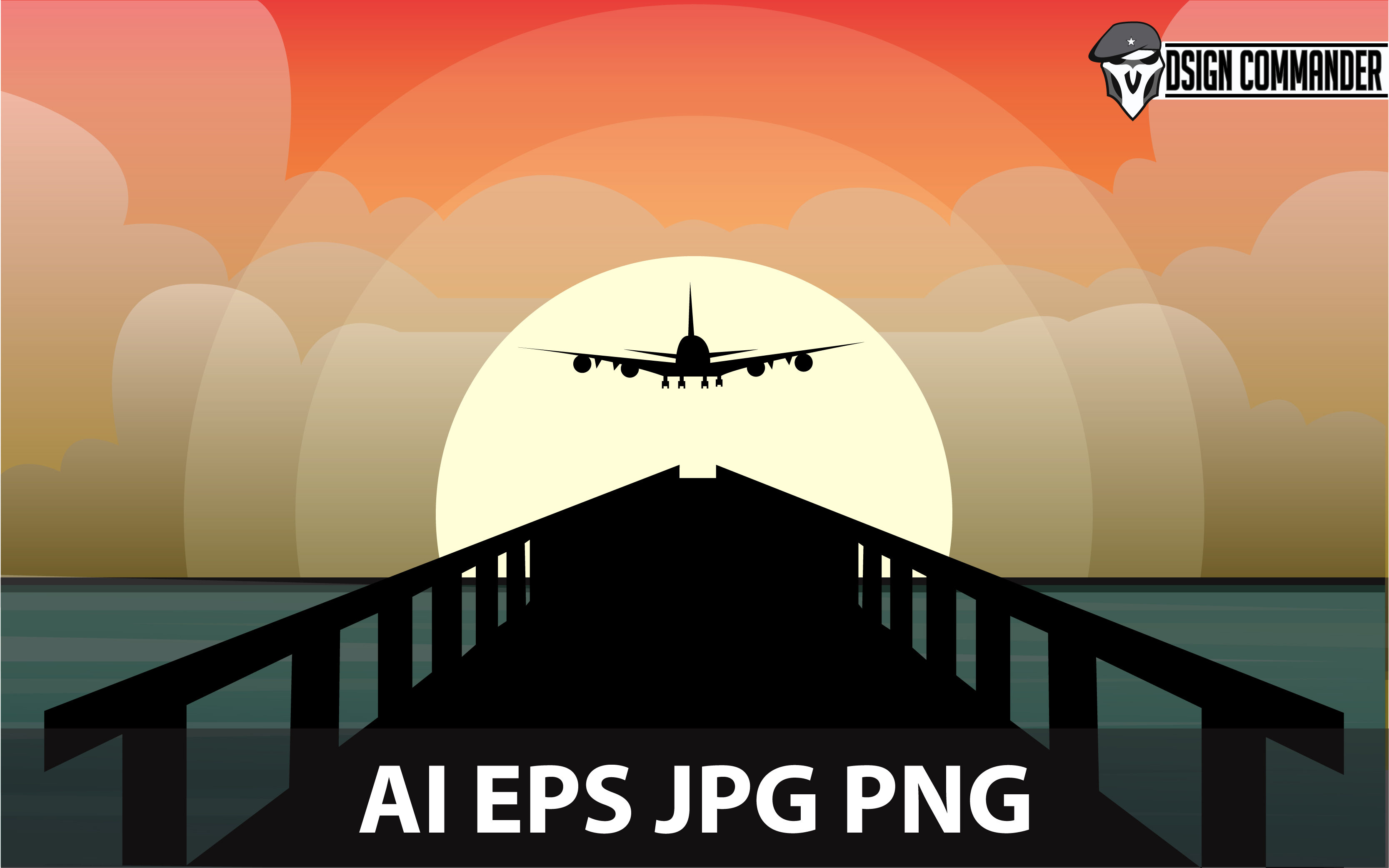 Aircraft And Bridge Silhouettes Vector Graphic By
