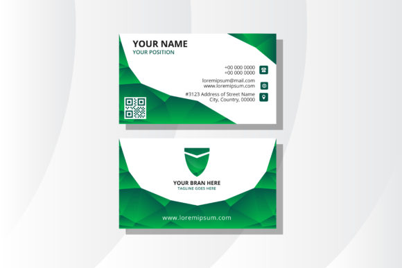 Print on Demand: Business Card Polygonal Green Graphic Graphic Templates By noory.shopper