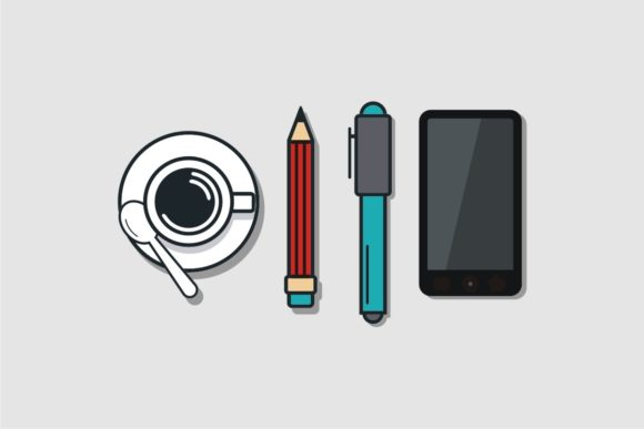 Print on Demand: Coffee and Pen Graphic Illustrations By Bintangcreative
