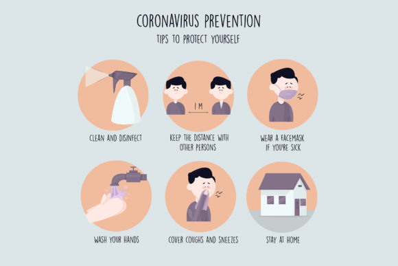 Download Free Coronavirus Prevention Tips Template Graphic By Aprlmp276 Creative Fabrica for Cricut Explore, Silhouette and other cutting machines.