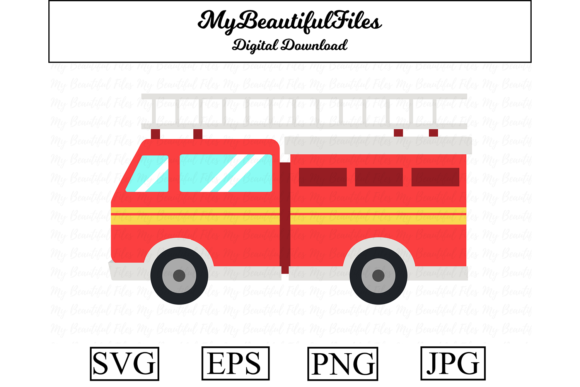 Download Free Fire Engine Clipart Illustration Graphic By Mybeautifulfiles for Cricut Explore, Silhouette and other cutting machines.