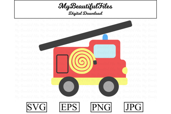 Download Free Fire Engine Graphic By Mybeautifulfiles Creative Fabrica for Cricut Explore, Silhouette and other cutting machines.