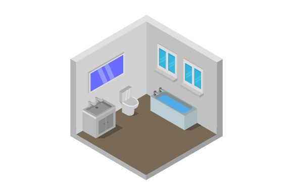 Download Free Isometric Bathroom Graphic By Marco Livolsi2014 Creative Fabrica for Cricut Explore, Silhouette and other cutting machines.