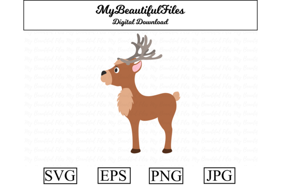 Download Free Reindeer Clipart Illustration Graphic By Mybeautifulfiles for Cricut Explore, Silhouette and other cutting machines.