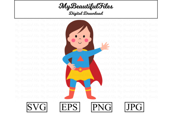 Print on Demand: Superhero Girl Clipart Illustration Graphic Illustrations By MyBeautifulFiles