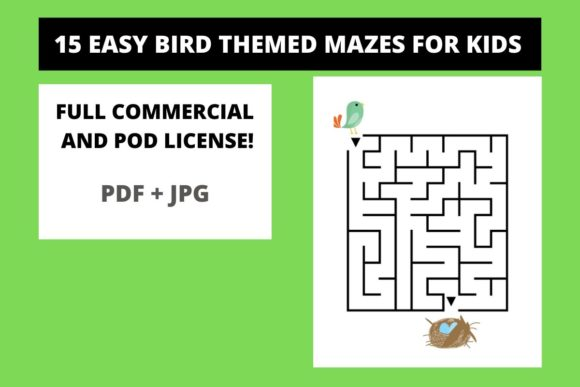 Download Free 15 Easy Cute Bird Mazes For Kids Graphic By Fleur De Tango for Cricut Explore, Silhouette and other cutting machines.