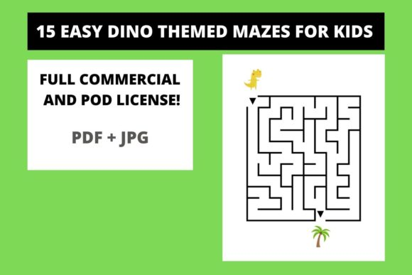 Print on Demand: 15 Easy Dino Themed Mazes for Kids Graphic Teaching Materials By Fleur de Tango