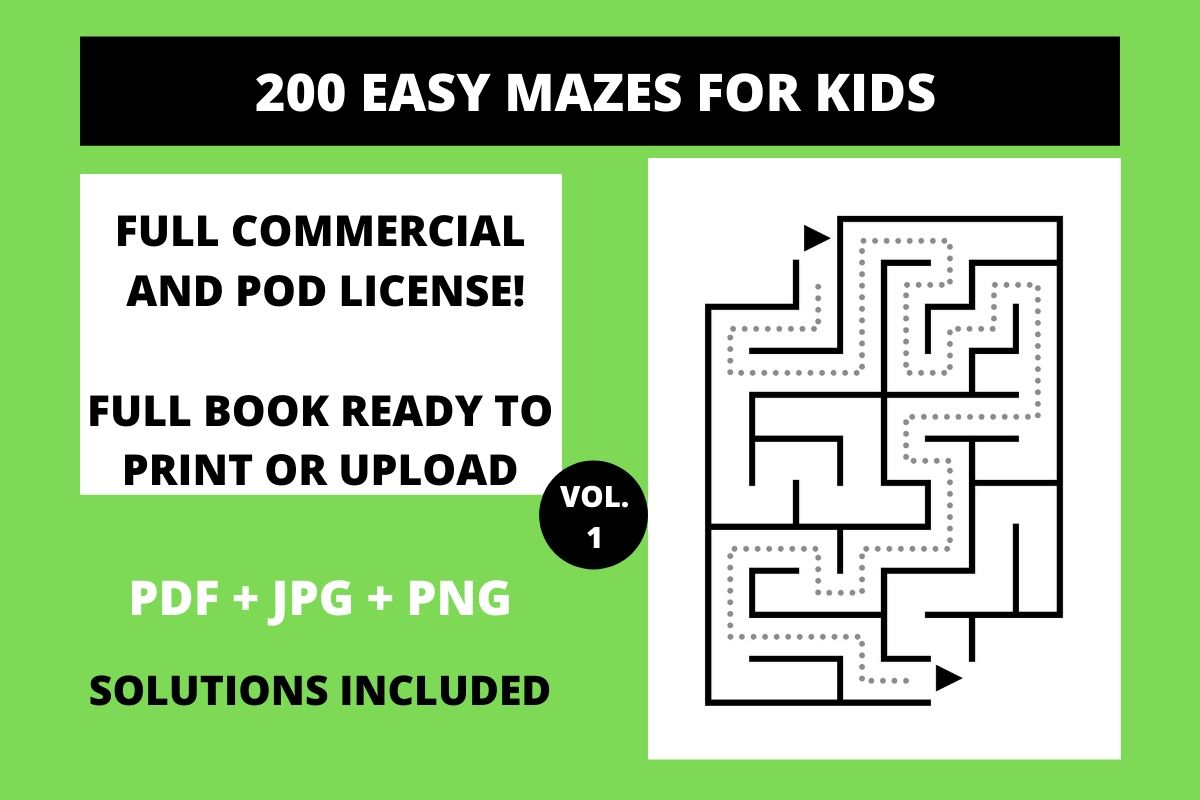 Download Free 200 Easy Mazes For Kids Vol 1 Graphic By Fleur De Tango for Cricut Explore, Silhouette and other cutting machines.