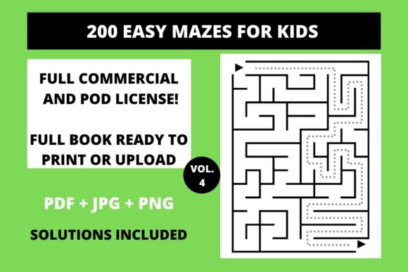 Print on Demand: 200 Easy Mazes for Kids Vol.4 Graphic Teaching Materials By Fleur de Tango