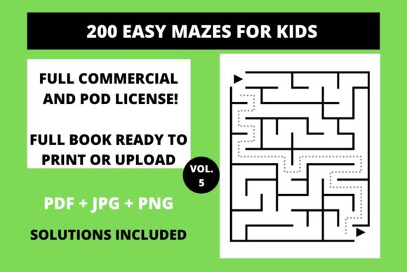 Print on Demand: 200 Easy Mazes for Kids Vol.5 Graphic Teaching Materials By Fleur de Tango