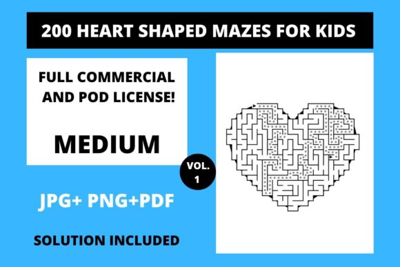 Print on Demand: 200 Heart Shaped Mazes for Kids Vol.1 Graphic Teaching Materials By Fleur de Tango