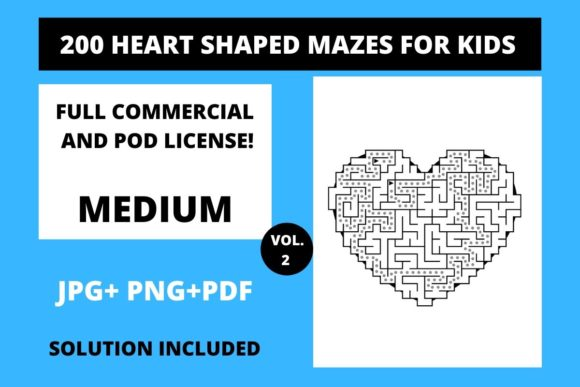 Print on Demand: 200 Heart Shaped Mazes for Kids Vol.2 Graphic Teaching Materials By Fleur de Tango