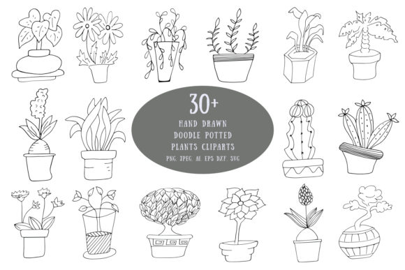 Download Free 30 Hand Drawn Doodle Potted Plants Graphic By Creative Tacos for Cricut Explore, Silhouette and other cutting machines.